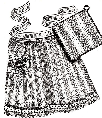 Vintage Crochet PATTERN to make - Dishcloth Apron Potholder Rose. NOT a finished item. This is a pattern and/or instructions to make the item only.