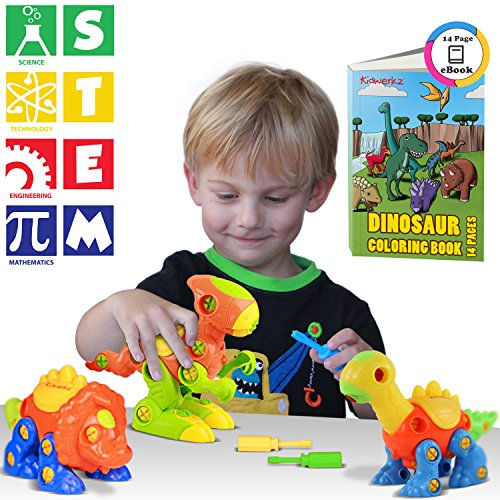 Kidwerkz Dinosaur Toys, STEM Learning, Take Apart Construction Engineering Building Play Set