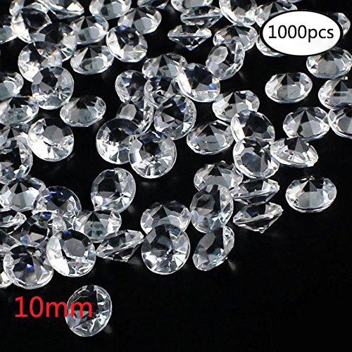 Outuxed 1000pcs Clear Wedding Table Scattering Crystals Acrylic Diamonds Wedding Bridal Shower Party Decorations Vase Fillers, 10mm, with 1 Large Velvet Pouch (Wedding Gemstone)