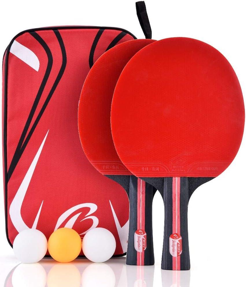 Alomejor Juego de Tenis de Mesa Juego de Tenis de Mesa Paletas de Ping Pong con 3 Bolas y Estuche de Transporte para Actividades de Ping Pong Interiores en Exteriores