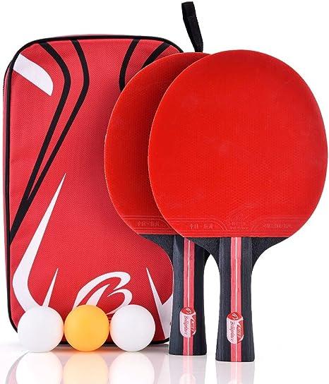 VGEBY Juego de paletas de Ping-Pong, Raqueta de Tenis de Mesa para 2 Jugadores 3 Bolas de Tenis de Mesa y una cómoda ba: Amazon.es: Deportes y aire libre