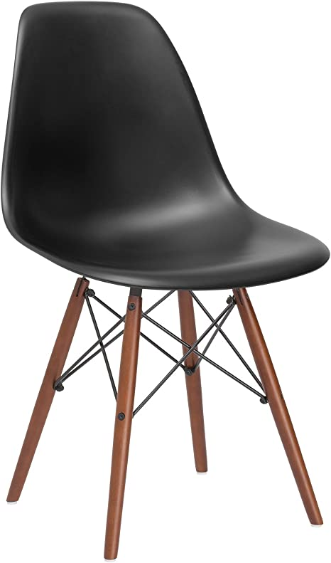 Amazon Com Poly And Bark Vortex Modern Mid Century Side Chair With Wooden Walnut Legs For Kitchen Living Room And Dining Room Black Chairs