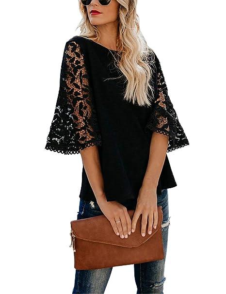 6a5b89141 BMJL Women's Elegant Lace Shirt Knit Top Loose Blouse 3 Quarter Sleeve Tee  Tunics (S