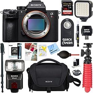 Sony a7R III 42.4MP Full-frame Mirrorless Interchangeable Lens Camera Body + 128GB Memory & Flash a7RIII Accessory Bundle