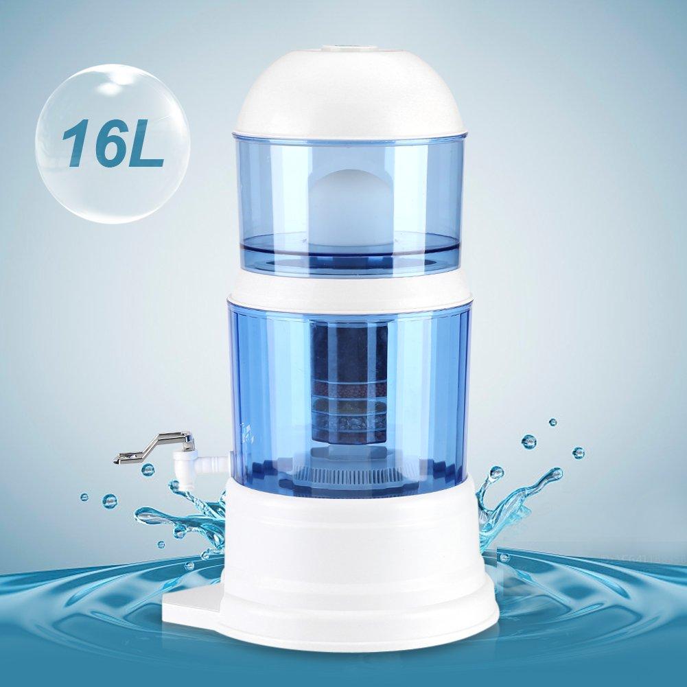 GOTOTOP Distributore di acqua con serbatoio, 16L, sistema purificatore acqua con un depuratore di acqua, bianco/blu