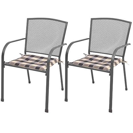 Tuduo sillas apilables de Exteriores 2 Unidades con Cojines ...