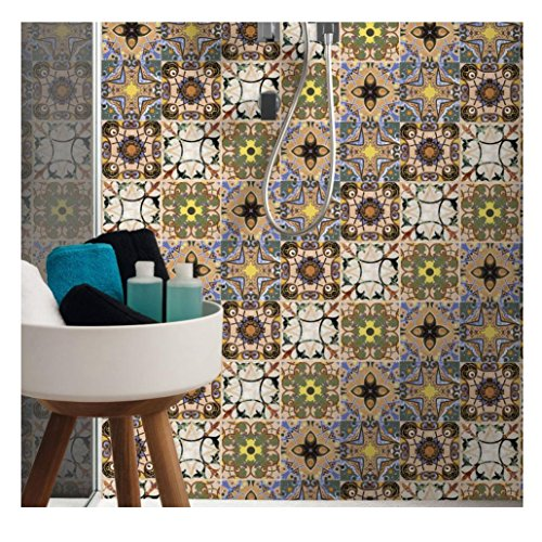 Hometom Tile Stickers 8x8 Inch 16pc Kitchen Backsplash Bathroom Vinyl Waterproof Peel and Stick Talavera (A)
