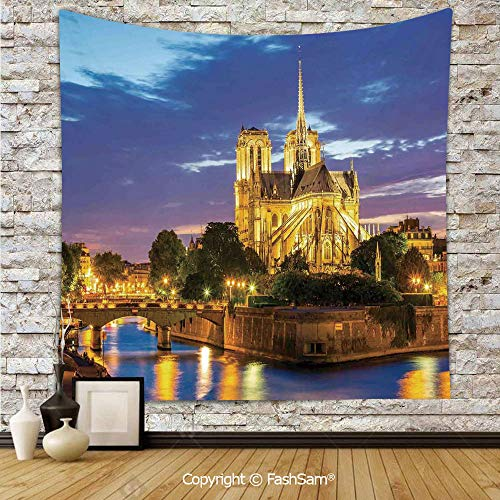 FashSam Tapestry Wall Hanging Notre Dame Cathedral at Dusk in Paris France Riverside Scenery Reflection Tapestries Dorm Living Room Bedroom(W51xL59)