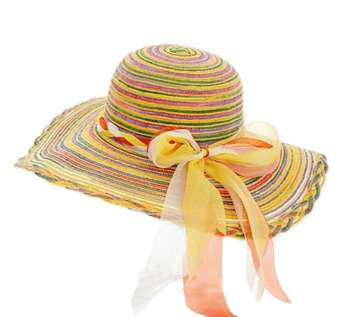 Gespout Cappelli Donna Eleganti Cappello da Sole Protezione UV Berretto da  Spiaggia Tesa Larga Cappello di 752d7e76dcdf