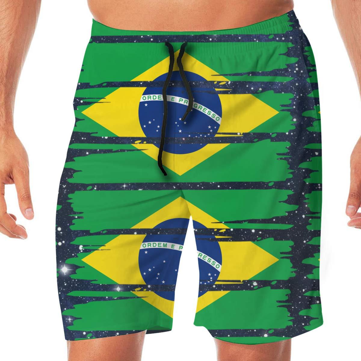 YGE.I.L25 Mens Surfing Boardshorts Brazil Flag Quick Dry Beach Board Short for Men