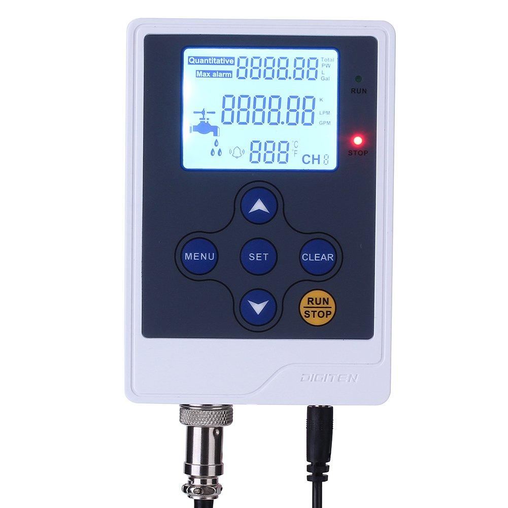 DIGITEN Water Flow Control LCD Display+G1//4 Flow Sensor Meter+12V G1//4 Solenoid Valve 0.02-0.8Mpa