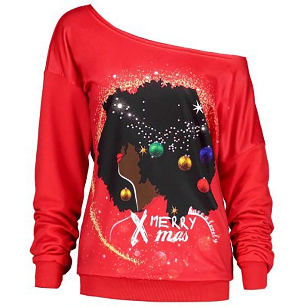 3cd19e975 DMZing Women Tops Blouse Jumper Pullover Shirt Casual Christmas Letter Print  Fashion Sexy Off-Shoulder at Amazon Women's Clothing store: