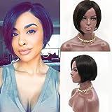 "10""-18"" Silk Straight Brazilian Virgin Hair Lace Front Wigs Short Bob Human Hair Wigs Natural Colour"