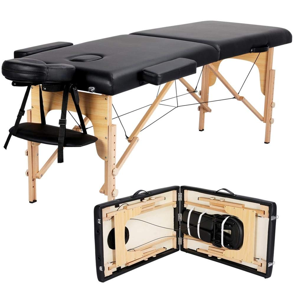 Yaheetech Massage Table Portable Massage Bed Spa Bed 84 Inch Adjustable 2 Fold Salon Bed Face Cradle Bed with Carrying case Headrest Armrest Hand Pallet, Black