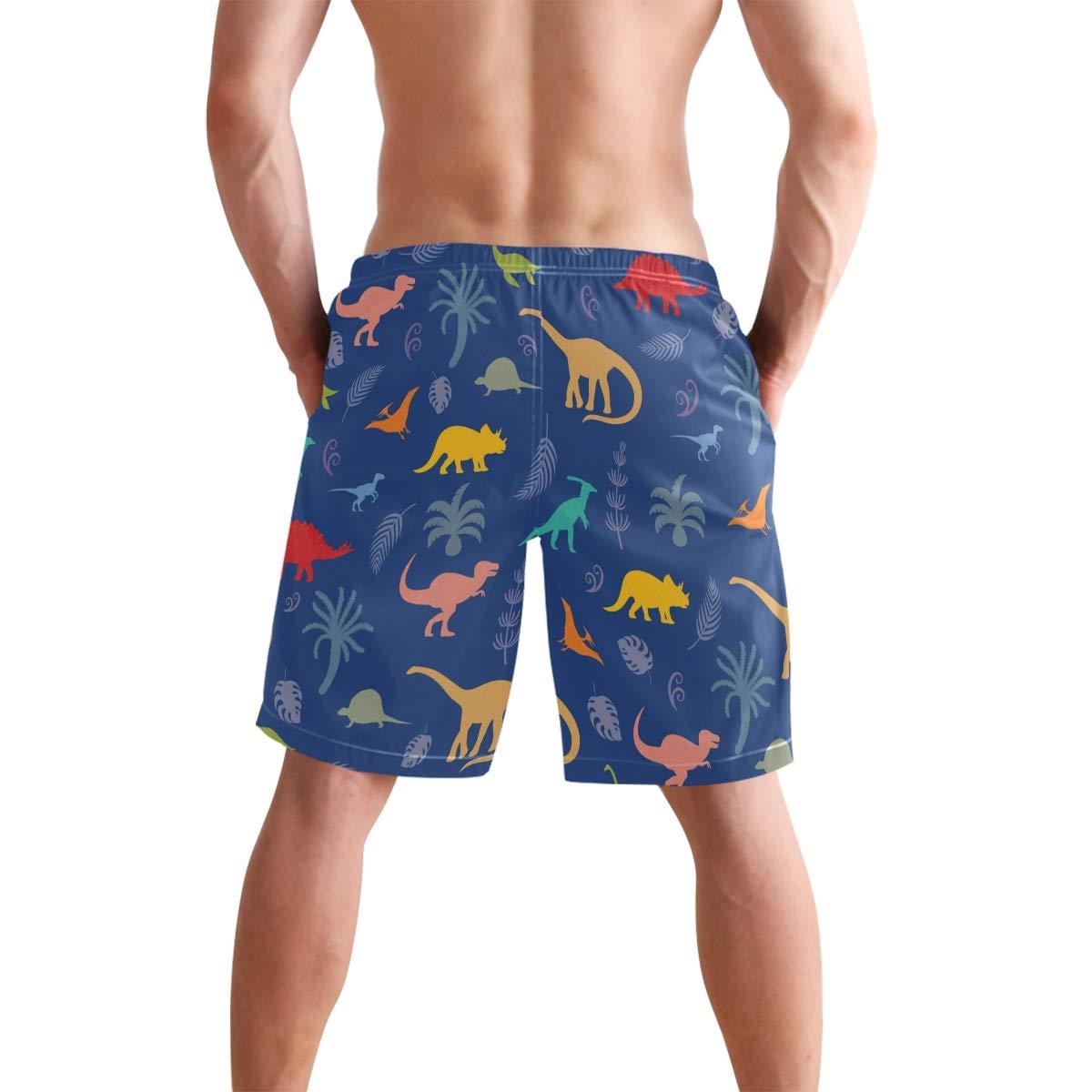 WIHVE Mens Beach Swim Trunks Cartoon Dinosaurs Plants Leaves Boxer Swimsuit Underwear Board Shorts with Pocket