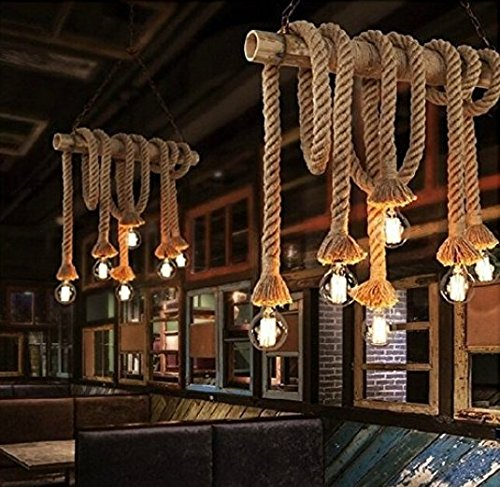 Double Heads Retro Rope Lights Loft Vintage Lamp Bedroom Dining Room Pendant Hand Knitted Hemp Rope 300 cm(118 inch)