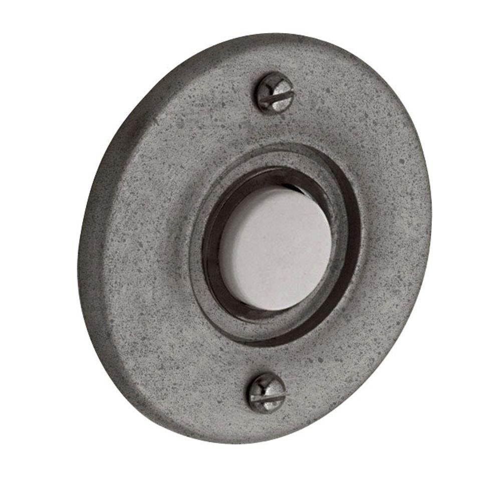 Baldwin 4851452 Round Bell Button, Distressed Antique Nickel