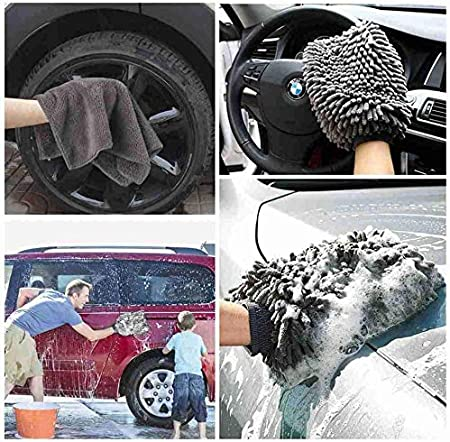 Lint Free TAGVO Large Size Car Wash Mitt Scratch Free(1X Towel Premium Cyclone Microfiber Wash Glove and Microfiber Towels 2X mitts)
