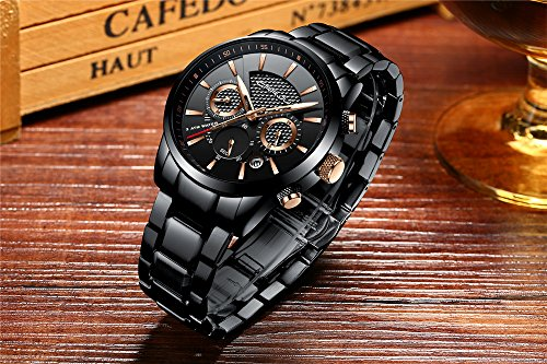 CRRJU Mens Stainless Steel Watches Date Casual Wrist Watch with Black Dial