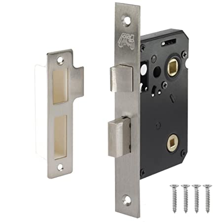 Bathroom Mortice Privacy Lock In Satin Stainless Steel 2½