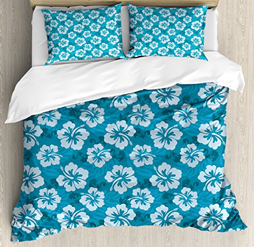 Ambesonne Hawaiian Decorations Duvet Cover Set Queen Size, Hawaiian Hibiscus Flowers and Leaves Fashion Fabric Design Style Artwork Print, Decorative 3 Piece Bedding Set with 2 Pillow - Print Bedding Hawaiian