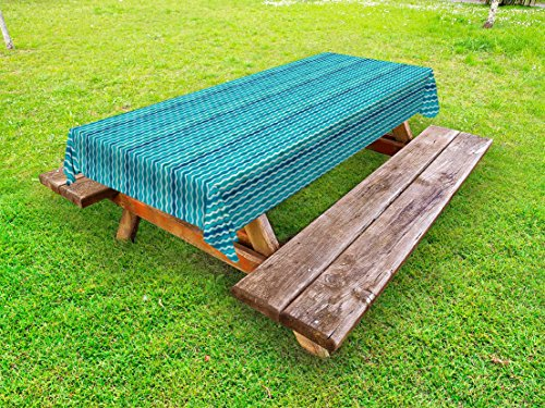 Ambesonne Abstract Outdoor Tablecloth, Wavy Stripe Pattern with Grunge Design Swirls Pattern Antique Composition, Decorative Washable Picnic Table Cloth, 58 X 104 inches, Aqua Blue Turquoise by Ambesonne