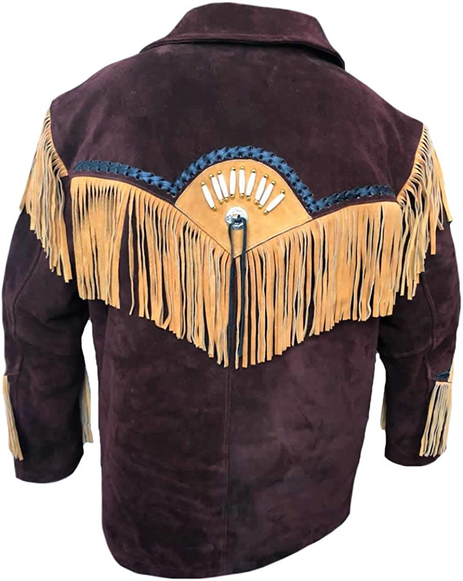 Bones /& Beans Stormwise Mens Western Suede Leather Jacket with Fringes