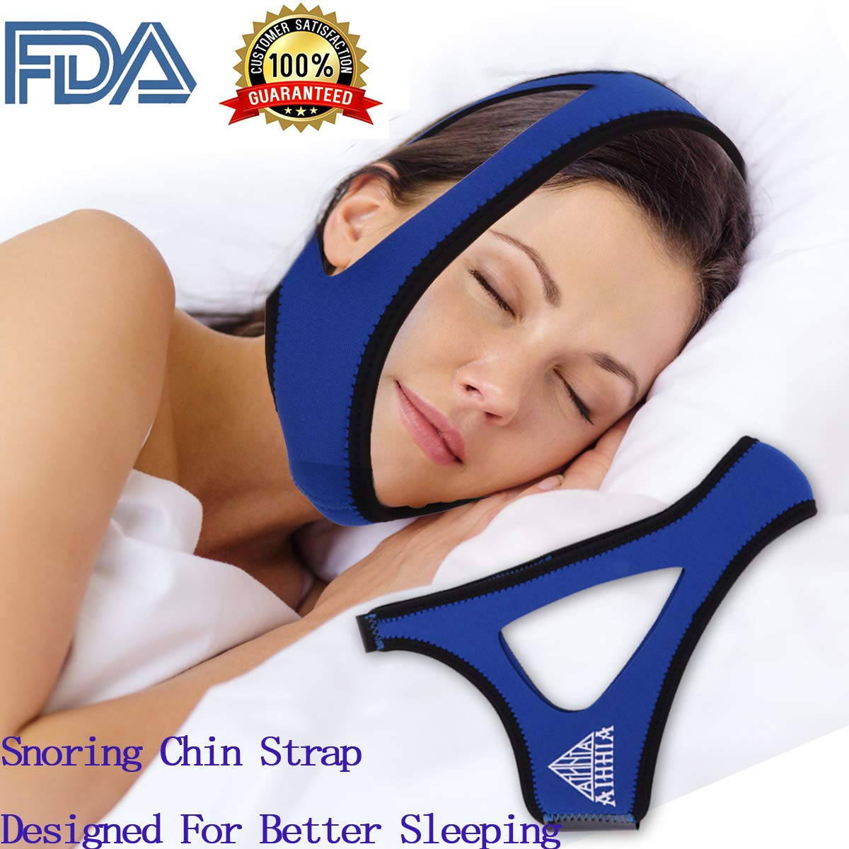 Anti Snoring Solution Chin Strap - Adjustable Snore Stopper,Anti Snoring Devices to Stop Snoring - Natural & Comfortable Sleep Aid for Women & Men - Designed as Snoring Remedies (Blue) by AIHHIA