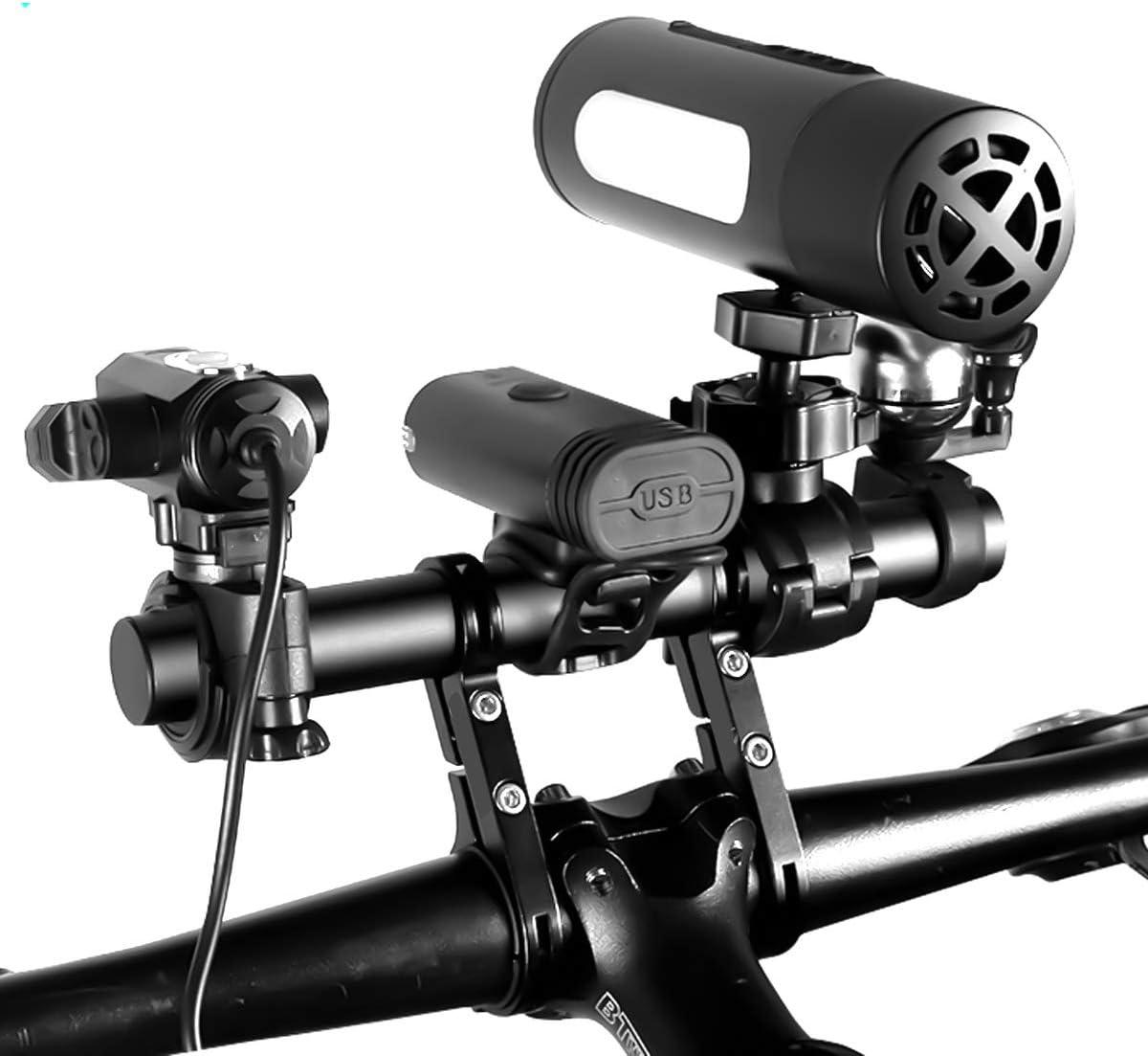 Negro Extensi/ón de Manillar de Bicicleta Aluminio Abrazaderas Dobles Aleaci/ón Bici Soporte de Extensi/ón con Destornillador 20cm Multifunci/ón Doble Soporte Manillar Bicicleta Extensor de Manillar