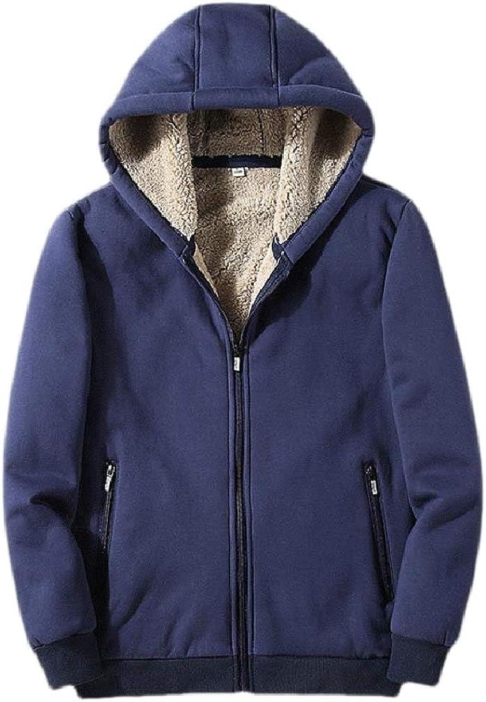 Cromoncent Mens Fleece Thicken Zip Winter Pocket Coat Jacket Hooded Sweatshirts