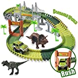 Dinosaur Track Toy Sets NEW UPDATE Bridge Create A Road with 142 Pcs Flexible Tracks | Jurassic World Dinosaur Race Car Toys for Kids | Great Gift for The Birthday for Children Aged 3+