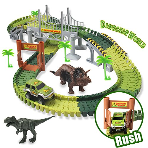 Dinosaur Track Toy Sets New Update Bridge Create A Road With 142 Pcs Flexible Tracks   Jurassic World Dinosaur Race Car Toys For Kids   Great Gift For The Birthday For Children Aged 3