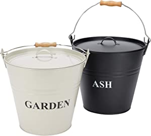 INNO STAGE Ash Bucket with Lid Iron Ash Pail for Fireplace, Ash Carrier Pail Fireplace Tools | Metal Ice Bucket | Storage Bucket Bin with Handle | Toy Container | for Indoor/Outdoor use - 2 Packs