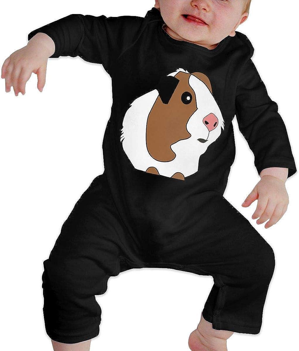 Guinea Pig Printed Boys Girls Bodysuit Long Sleeve Romper Black
