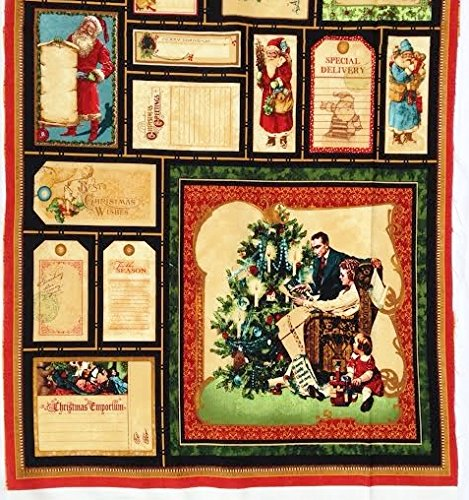 """Father Christmas """"Christmas Emporium"""" Quilt Block Fabric Panel (Great for Quilting, Sewing, Craft Projects, a Quilt, Throw Pillows & More) 22"""" X 44"""" Tall"""