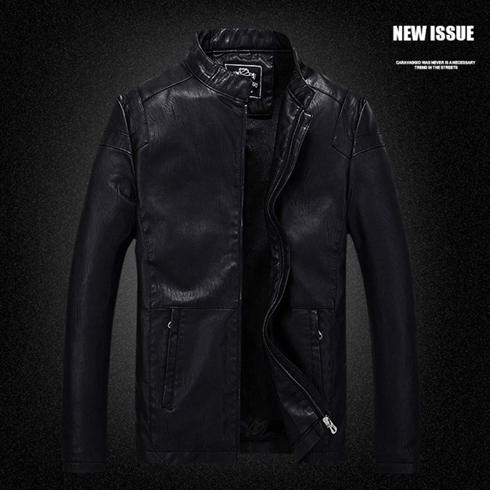 Amazon.com: Moserian New Coat for Men Business Cool Motorcycle Leather Zipper Fleece Jacket: Clothing