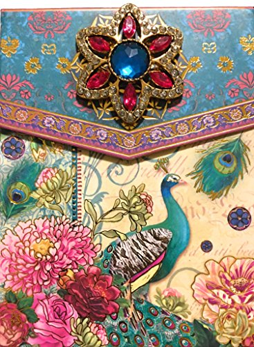 Punch Studio Brooch & Gold Foil Embellished Notepad ~ Turquoise Peacock 66574