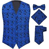 S.H. Churchill & Co. Men's 4 Piece Paisley Vest Set, with Bow Tie, Neck Tie & Pocket Hankie