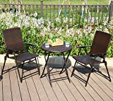 PHI VILLA 3 Piece Patio Rattan Bistro Sets, Weather Resistant Outdoor Furniture Set with Rust-Proof Steel Frames, Foldable Table and Chairs