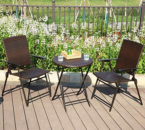 (PHI VILLA 3 Piece Patio Rattan Bistro Sets, Weather Resistant Outdoor Furniture Set with Rust-Proof Steel Frames, Foldable Table and Chairs)