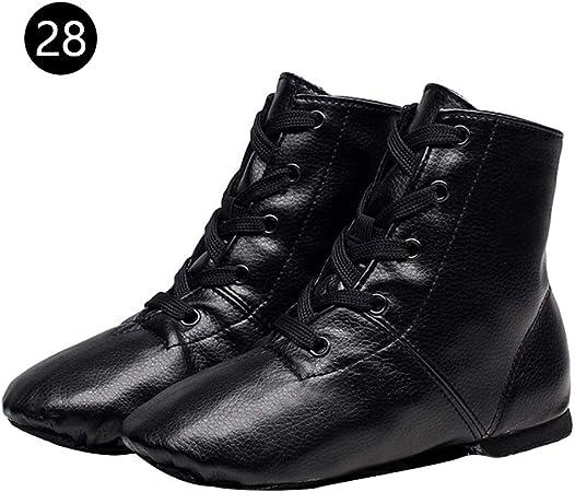 Bottes Bottines Noir Fille PU Cuir Chaussures de Danse Enfants Doux Chaussures Hautes Femmes Jazz Chaussures De Fond Souples Adultes Cadeau Nouvel an Anniverssaires pour Fille//Femme