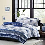 5 Piece Girls, Elegant Look Bohemian Pattern Comforter Set Full/Queen, Contemporary Unique Style Floral Design, Beautiful Vibrant Medallion Themed, Gorgeous Printed Bedding, Navy Blue, White Color