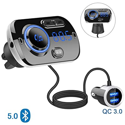 Bluetooth 5.0 Car FM Transmitter, Audio Adapter and Receiver, Hands-Free Calling Wireless Bluetooth Radio Transmitter, MP3 Car Charger with 2 USB Ports, Easy to Clamp/Paste, Support AUX Input TF Card: MP3 Players & Accessorie