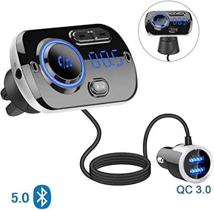 HLOMOM Car FM Receiver with 1.8 Color Screen Dual USB Charger Mp3 Player Hands-Free Calling Kit with Audio Wire Cable FM Transmitter Bluetooth Radio Receiver Audio Adapter Car Kit