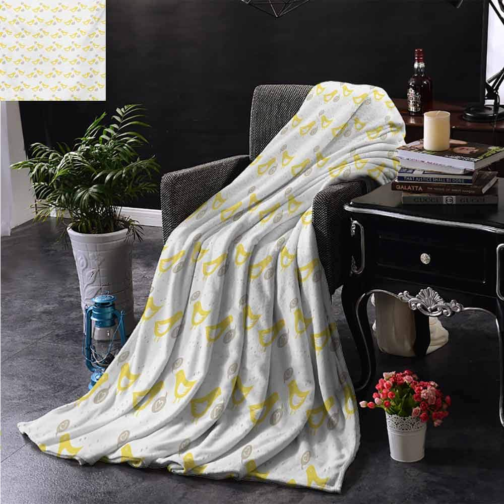 PCNBDJC Bedroom Blanket Grey and Yellow Vintage Modern Design Birds with Dots and Hearts Print Soft to The Touch W70 x L93 Inch Tan Mustard Yellow and White