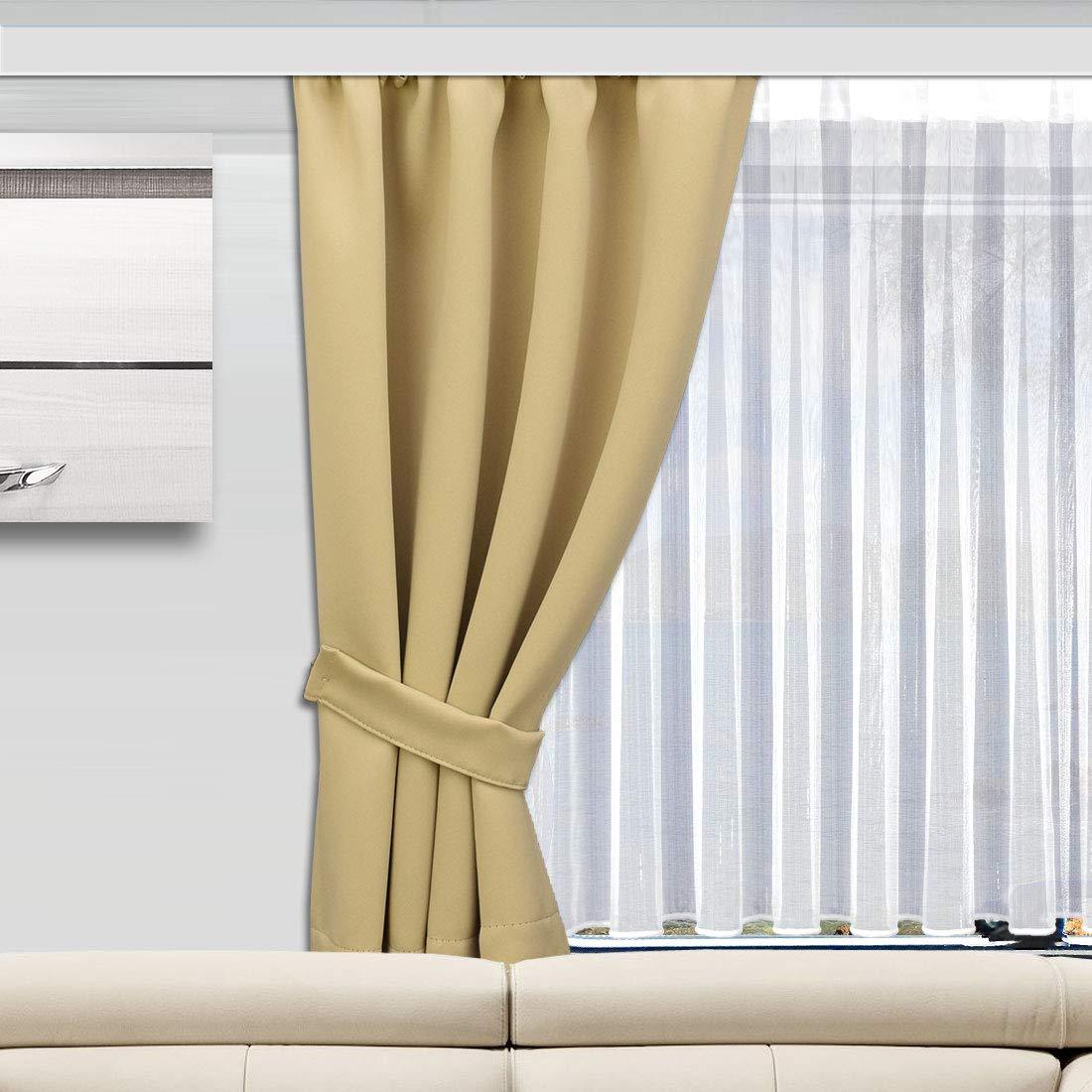 SeGaTeX home fashion Wohnmobil Caravan-Vorhang Mattis beige Verdunklungsdeko Wohnwagengardine mit Reihband H/öhe /& Breite nach Ma/ß