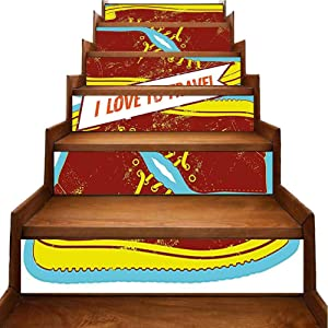 3D Stair Decals Stickers to Travel Quote Sport Grunge Vintage Sky Blue Apple Green Redwood Stair Riser backsplash Traditional Waterproof Home Decor, W39.3 x H7 inch