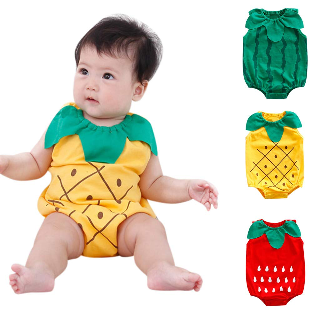 Newborn Boys Girls Jumpsuit, Infant Kids Baby Lovely Bodysuit Fruit Strawberry Pineapp Print Romper (0-6 Months, Yellow)