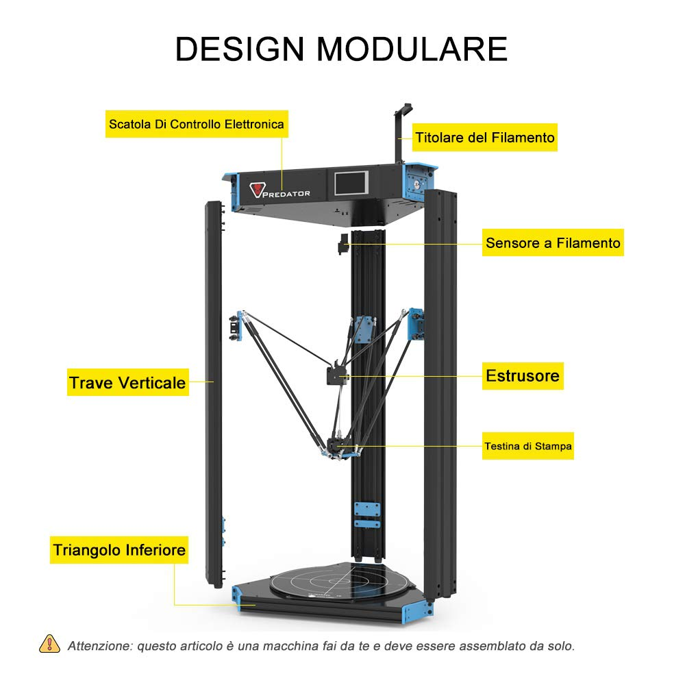 Anycubic Predator Delta 3d Printer Pre Assembled With Ultrabase Hotbed And Semi Auto Leveling Touch Screen Huge Print Size 370 370 455mm With Filament