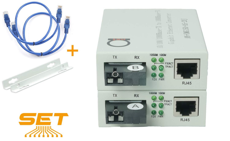 Single Mode SC WDM Single Fiber Bi-Di Gigabit Media Converter - Built-in Fiber Module 20km (12.42 Miles) - to UTP Cat5e Cat6 10 100 1000 RJ-45 - Auto Sensing Gigabit or Fast Ethernet Speed -1 Pair by ADnet